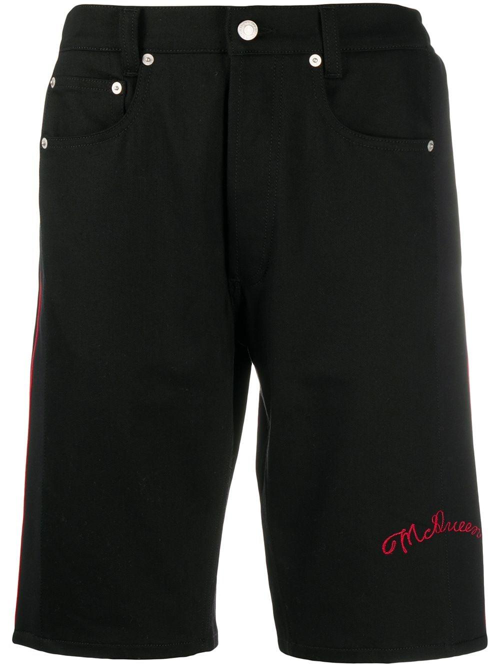 Alexander McQueen Jeans-Shorts mit Logo - Schwarz