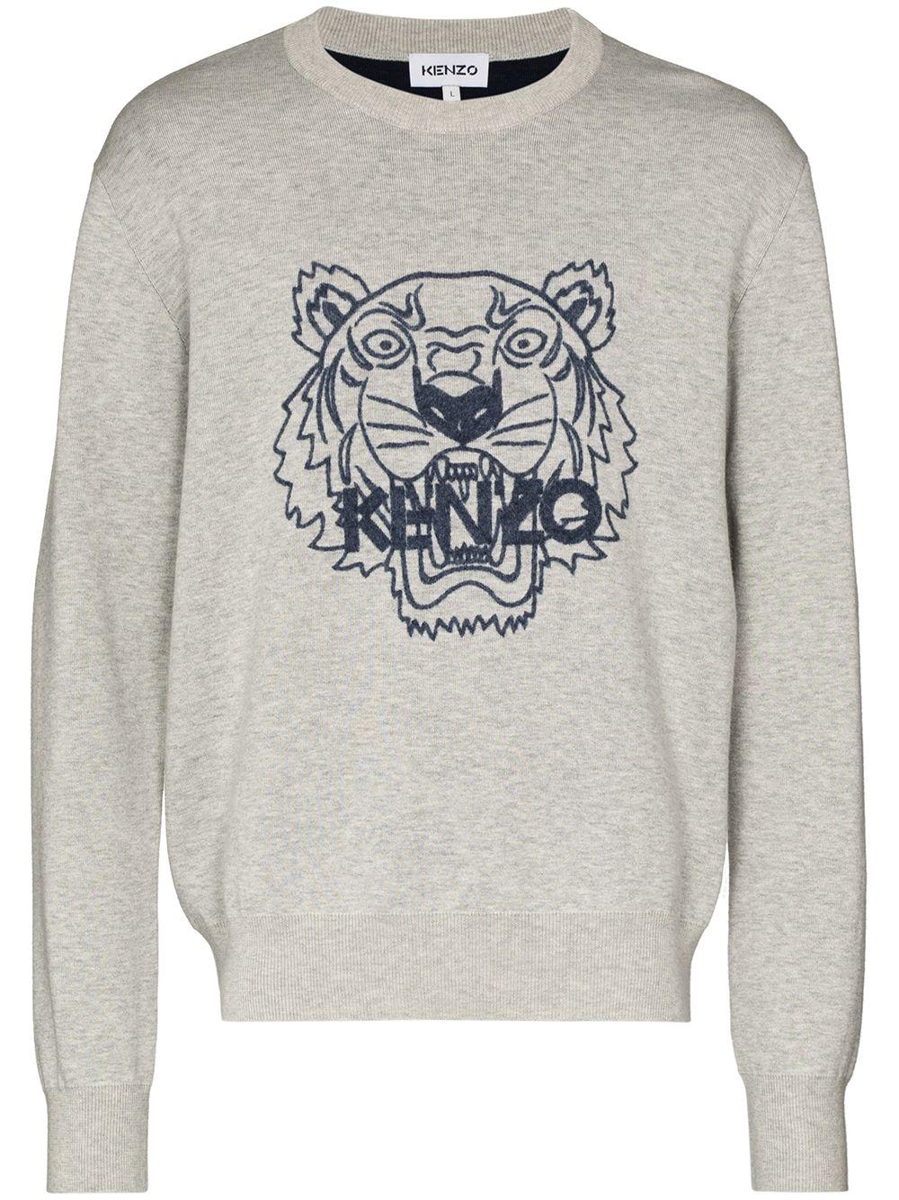 Kenzo Sweatshirt mit Tiger-Print - Grau