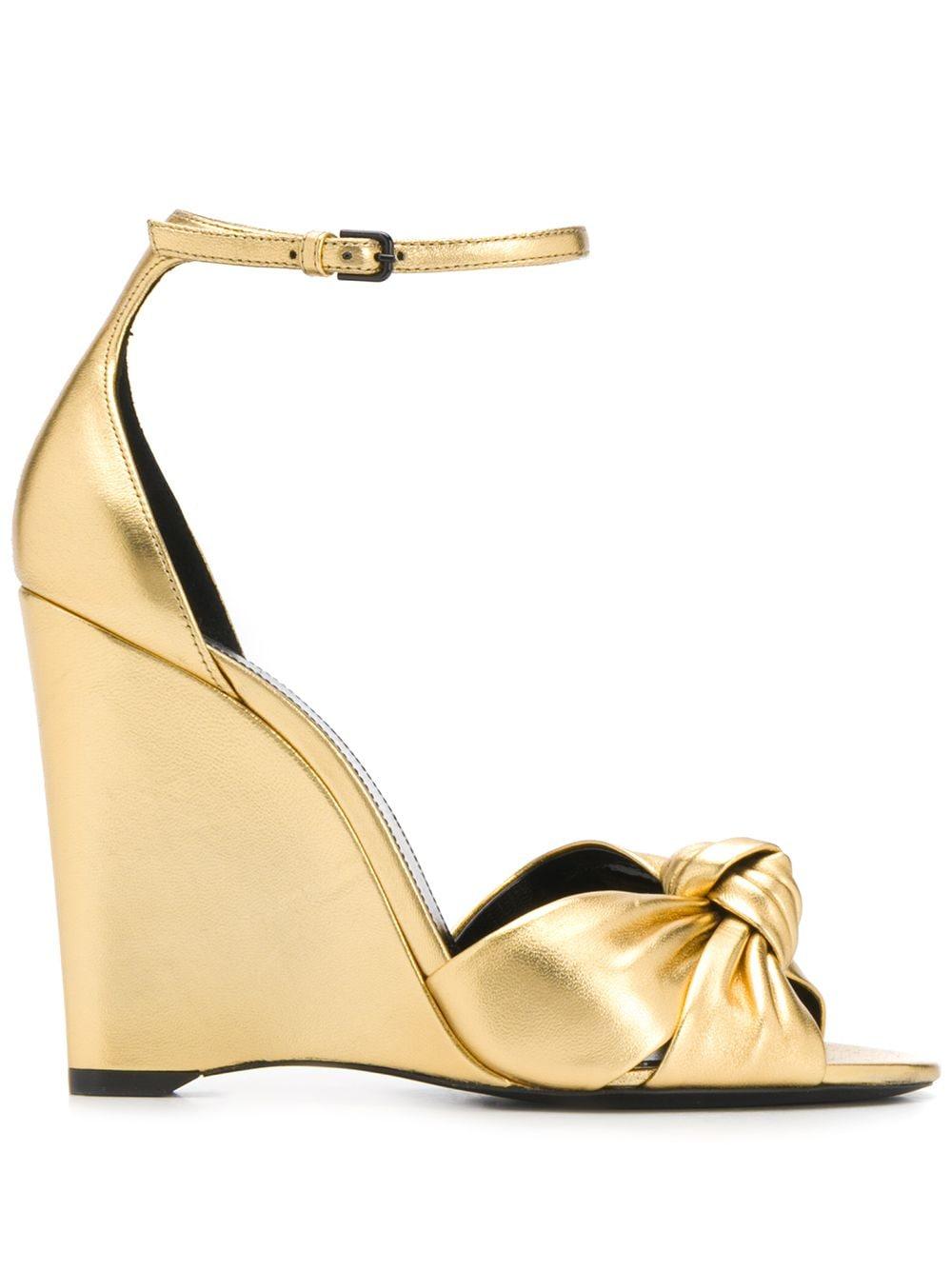 Saint Laurent Wedge-Sandalen mit Knoten, 95mm - Gold