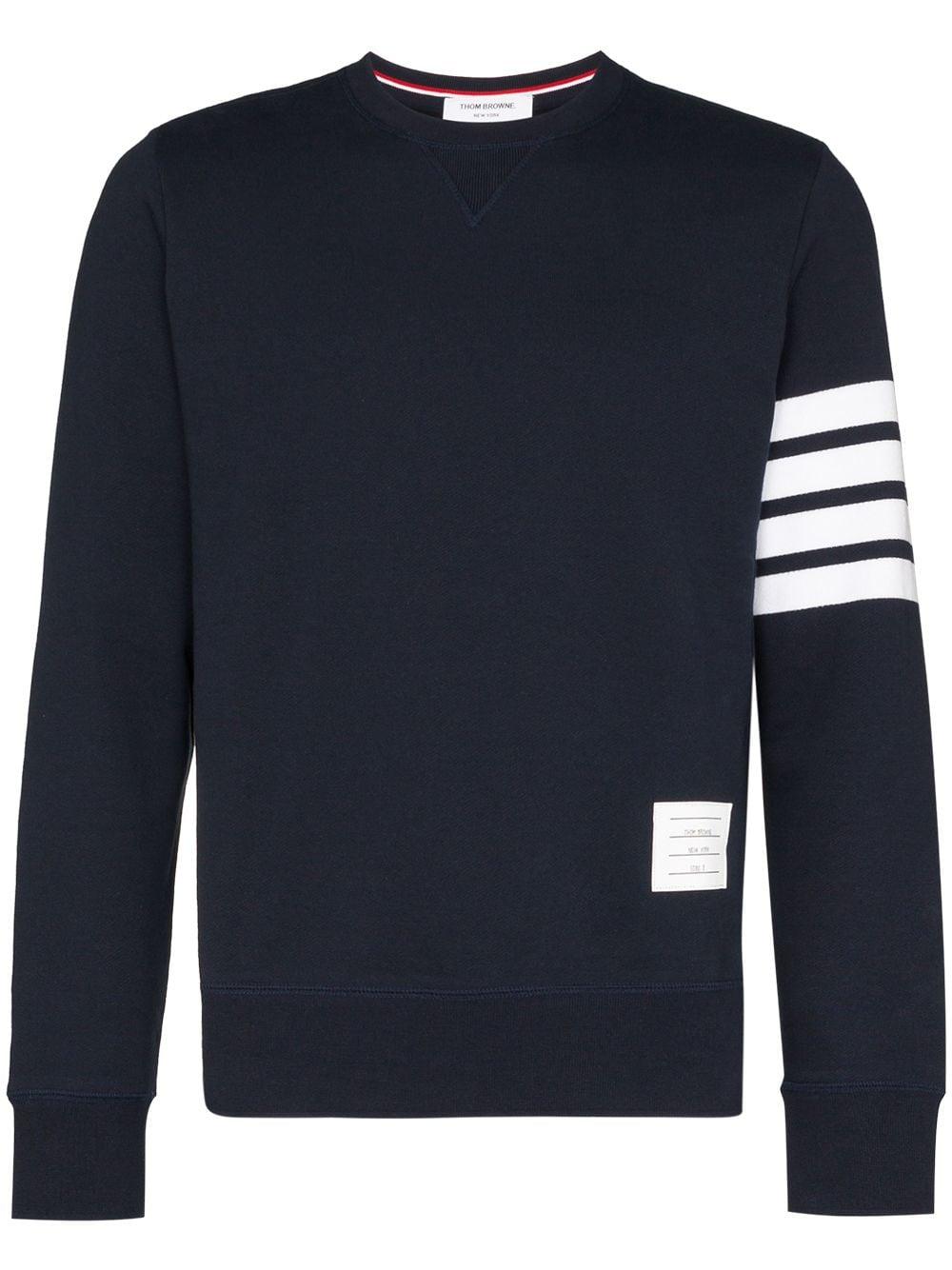 Thom Browne Sweatshirt mit gestreiftem Ärmel - Blau