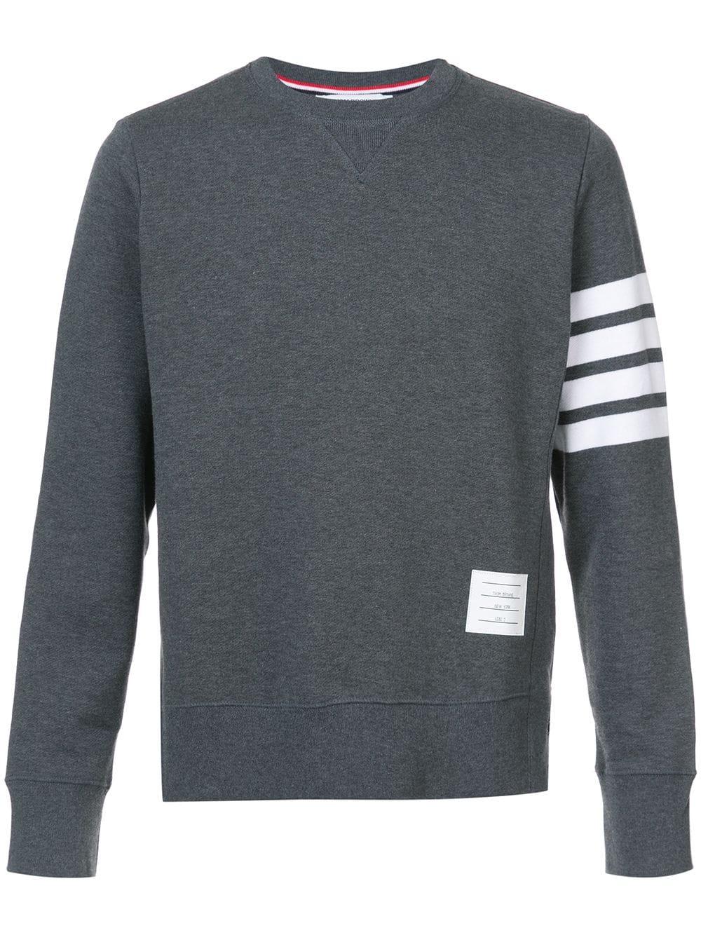 Thom Browne Sweatshirt mit gestreiftem Ärmel - Grau