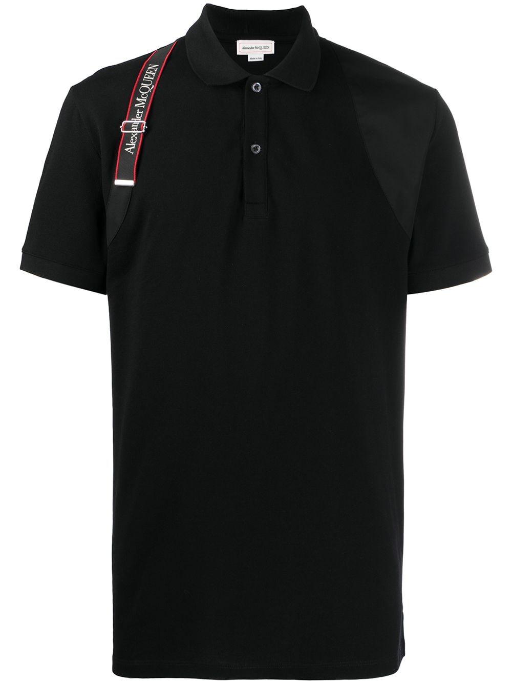 Alexander McQueen Poloshirt mit Riemendetail - Schwarz