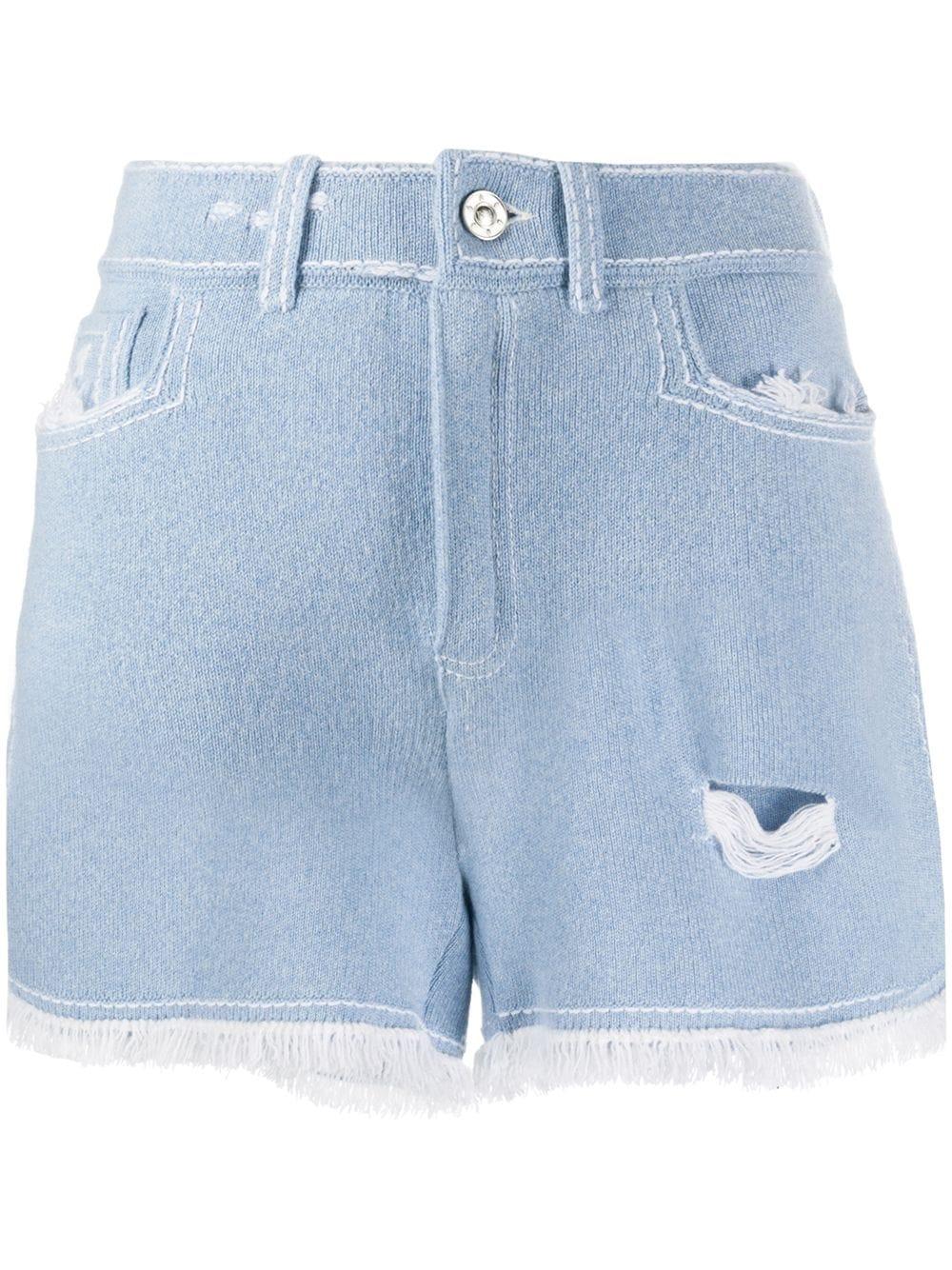 Barrie Shorts mit ausgefranstem Saum - Blau