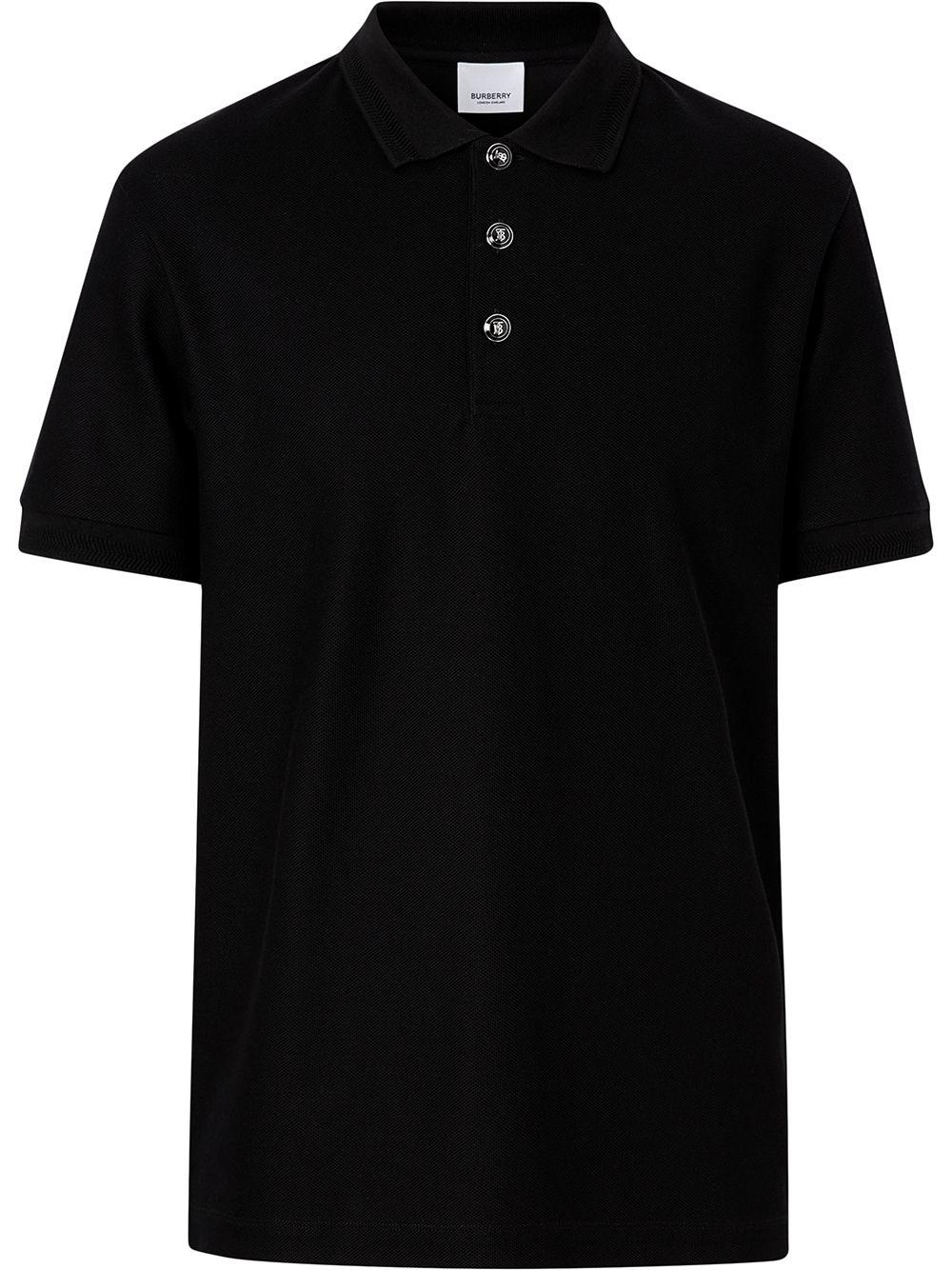 Burberry Poloshirt mit Logo-Knöpfen - Schwarz