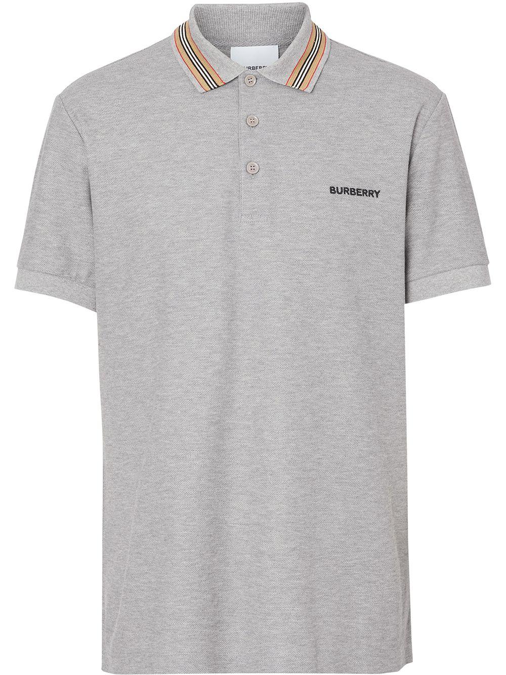 Burberry Poloshirt mit Logo-Streifen - Grau