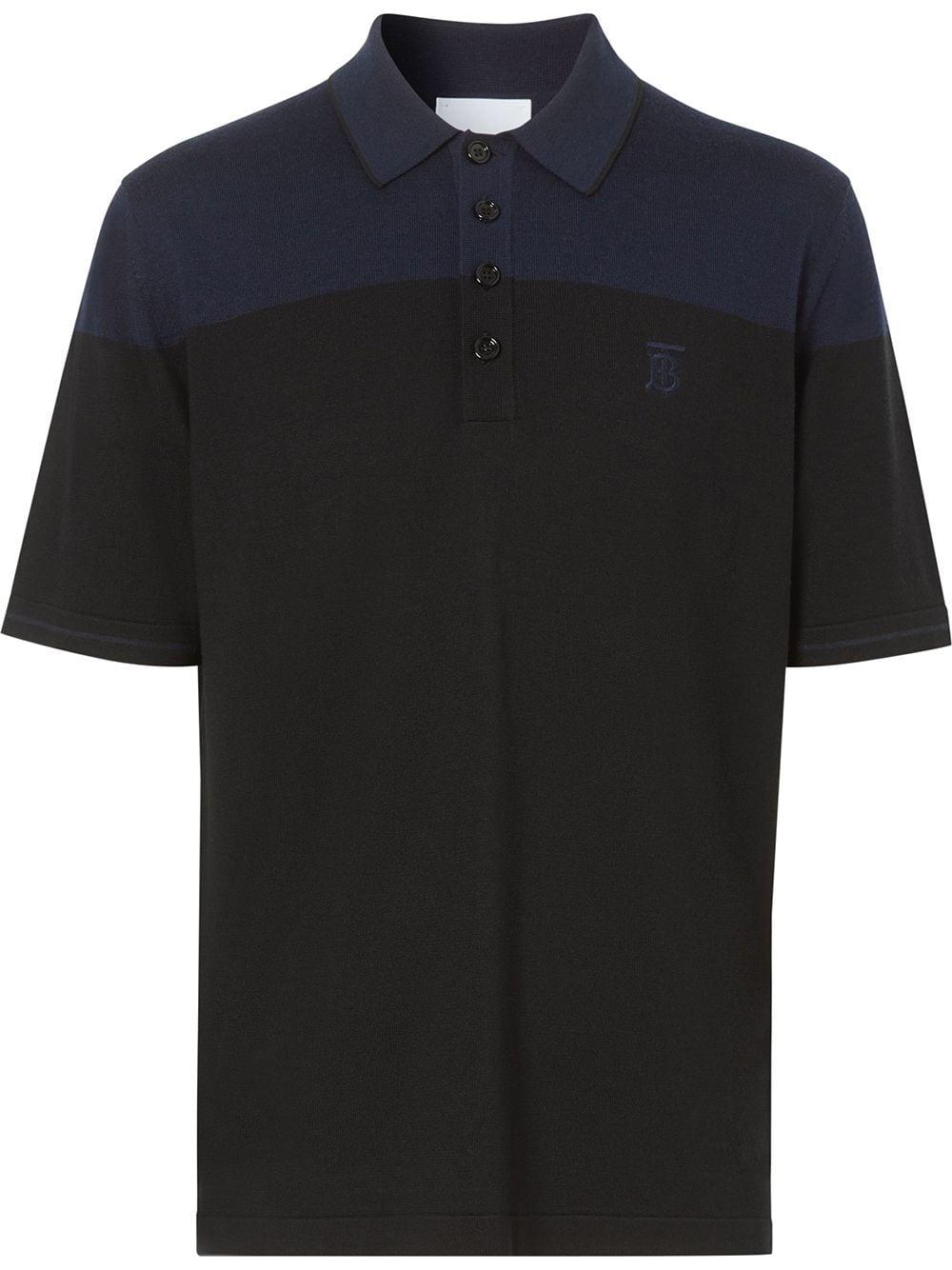 Burberry Zweifarbiges Poloshirt - Schwarz