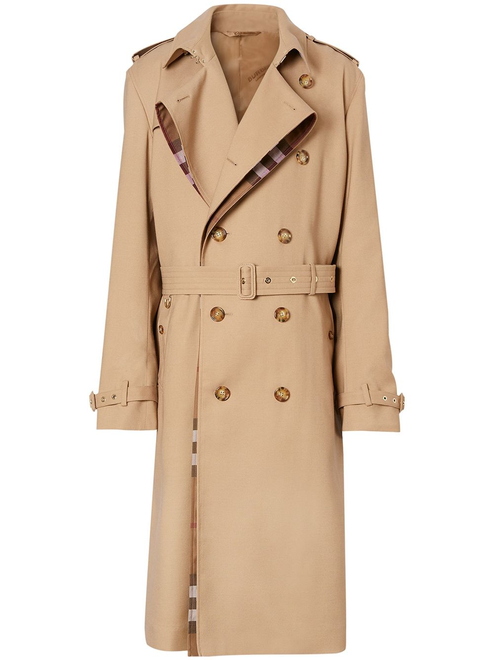 Burberry signature check loop-back trench coat - Nude