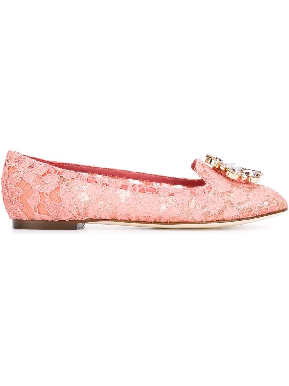 Dolce & Gabbana Ballerinas mit Spitzenbesatz - Rosa