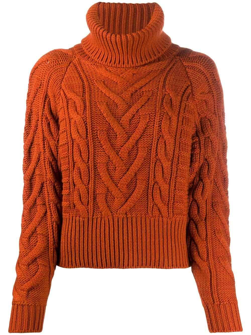 Dolce & Gabbana Rollkragenpullover mit Zopfmuster - Orange