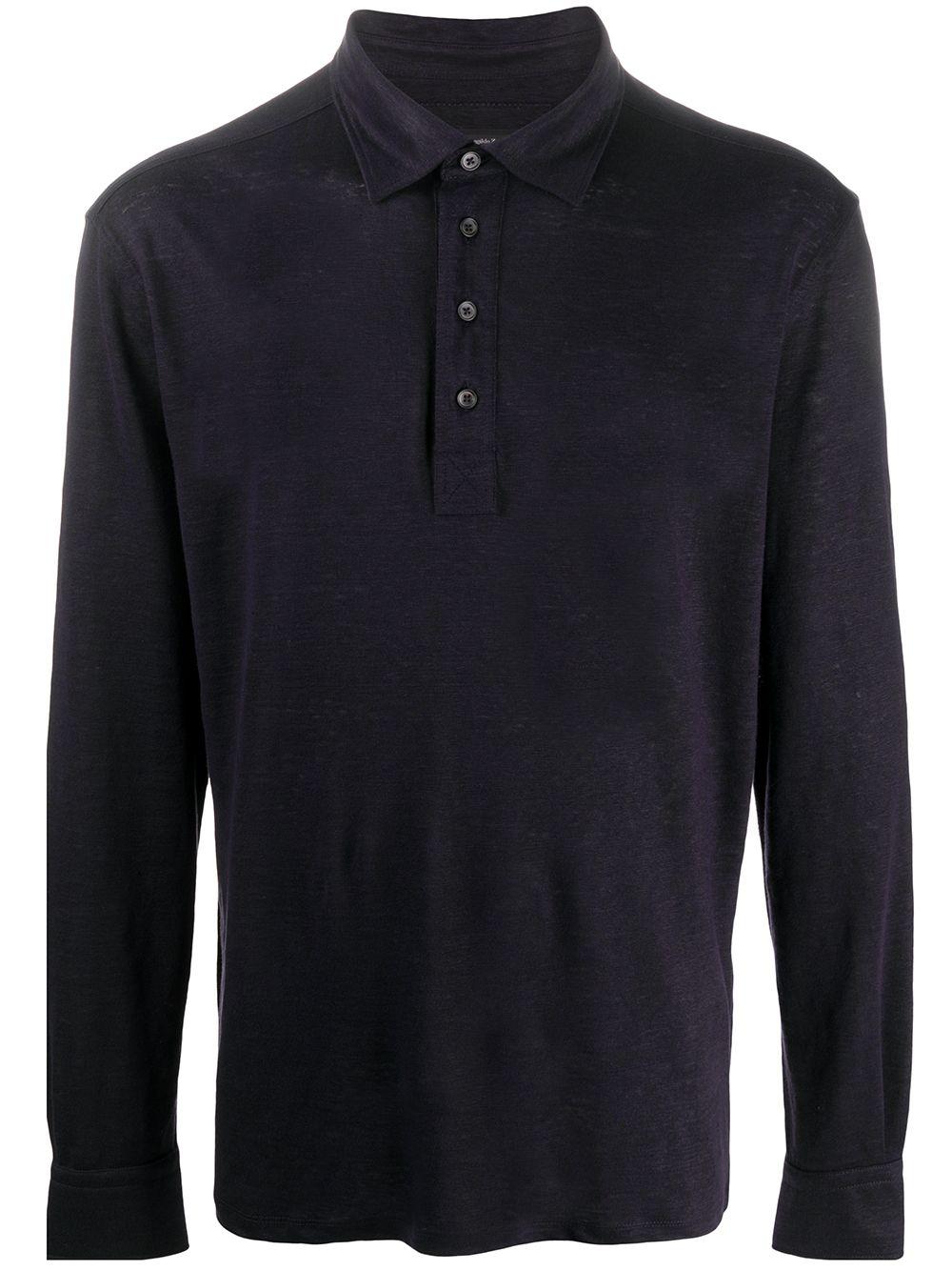 Ermenegildo Zegna long-sleeved burnout polo shirt - Blau