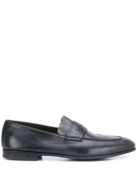Ermenegildo Zegna slim almond-toe loafers - Blau