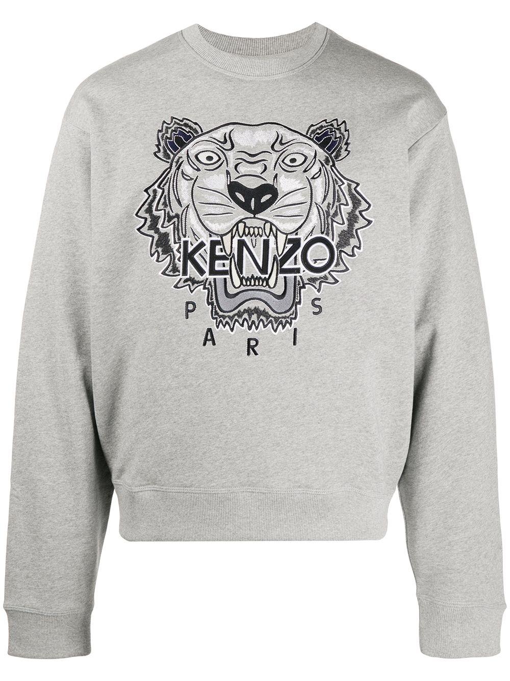 Kenzo Sweatshirt mit Logo-Stickerei - Grau