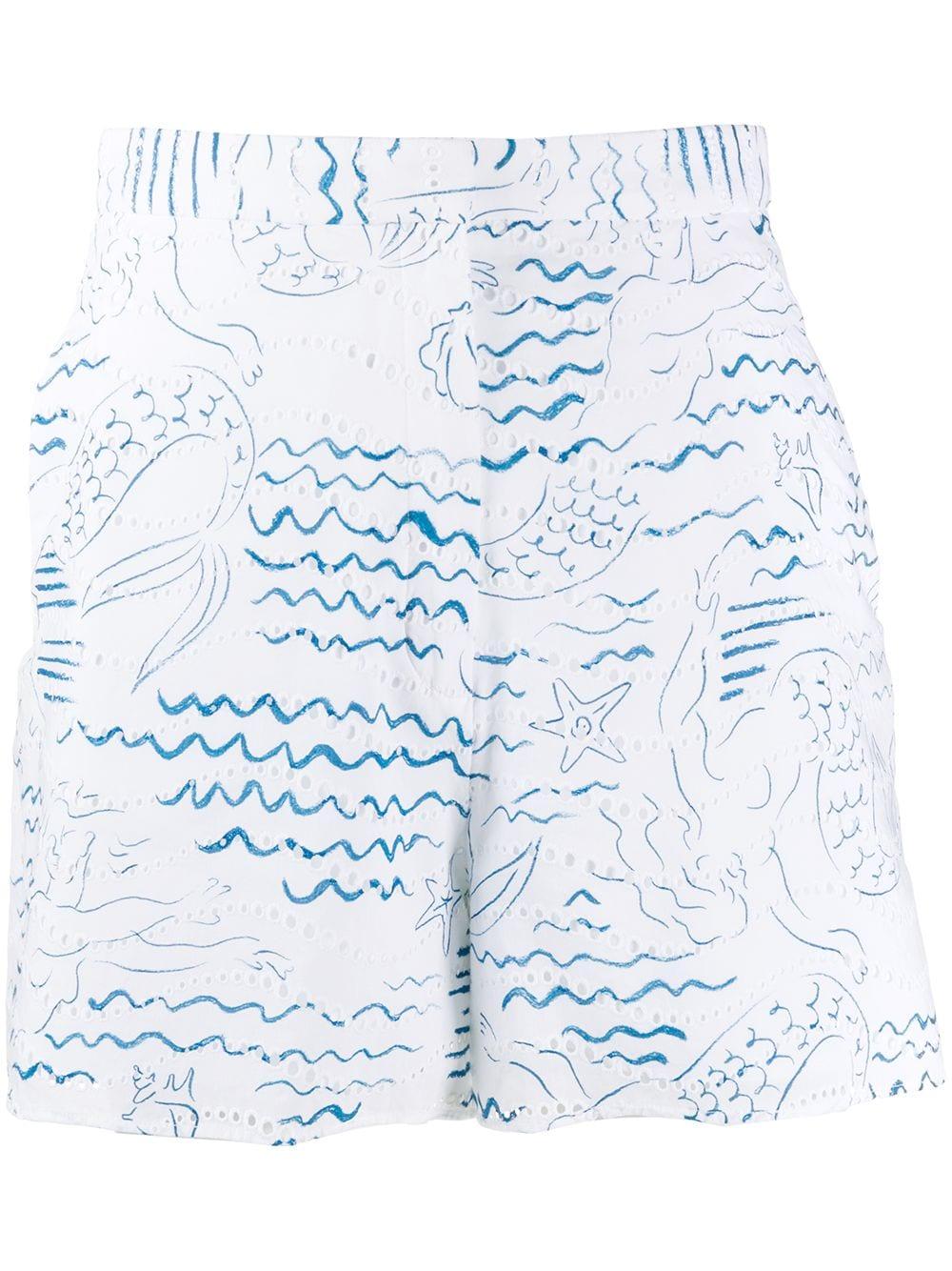 Kenzo 'Wave Mermaids' Shorts - Weiß