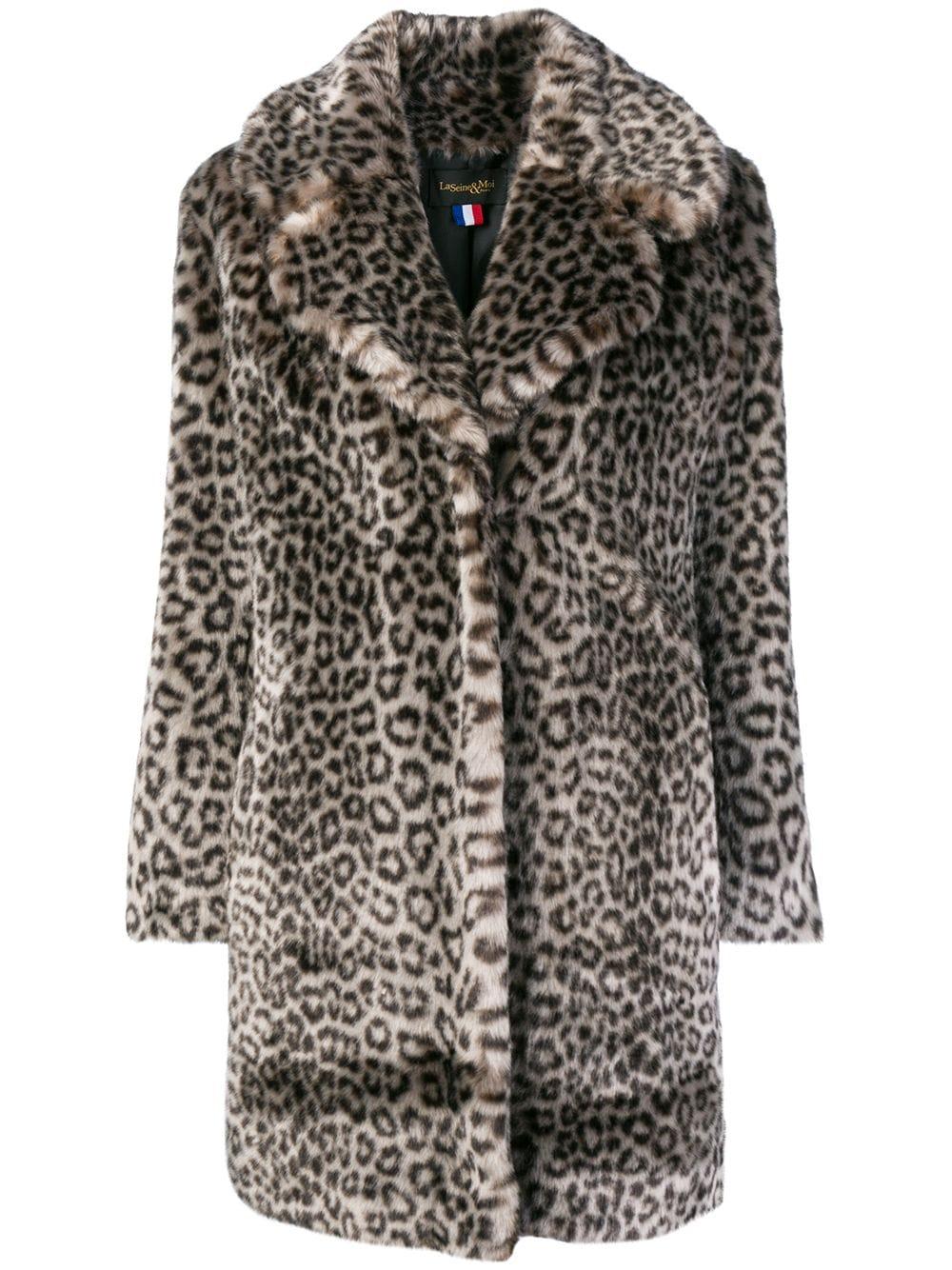 La Seine & Moi 'Louve' Mantel aus Faux Fur - Grau