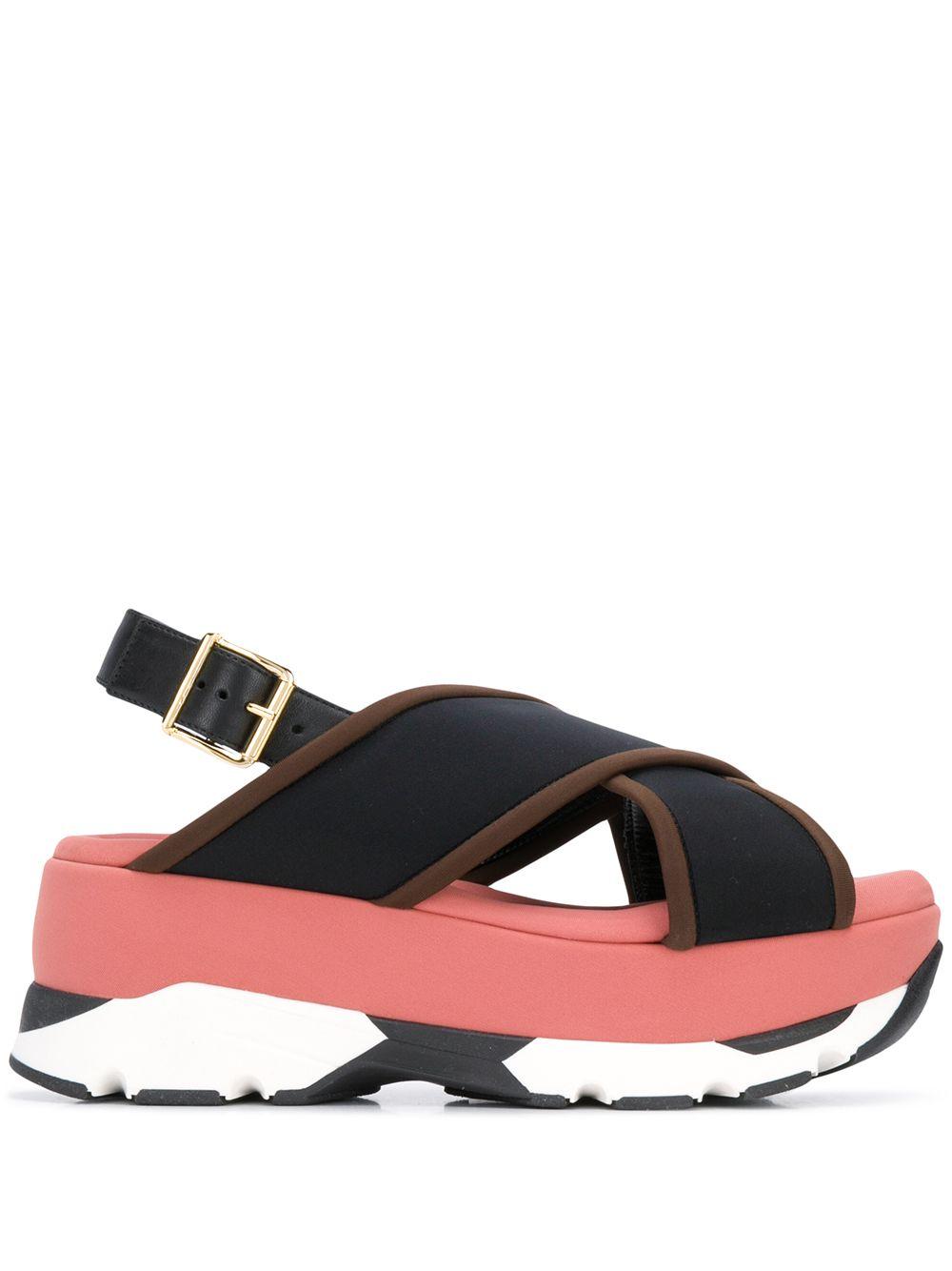 Marni Wedge-Sandalen mit Schnalle - Blau