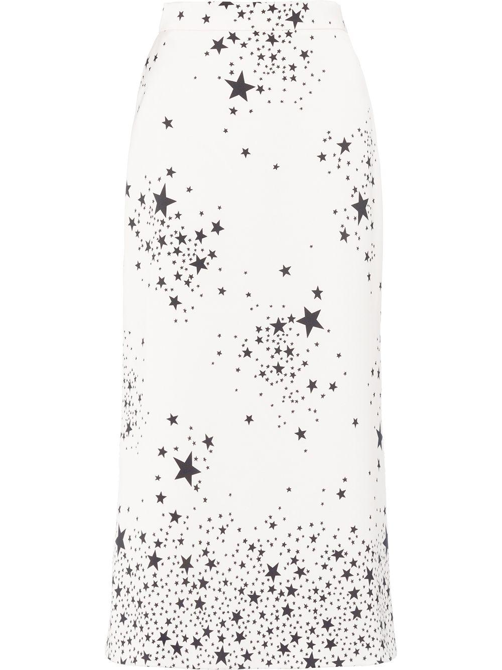 Miu Miu A-Linien-Rock mit Print - Weiß
