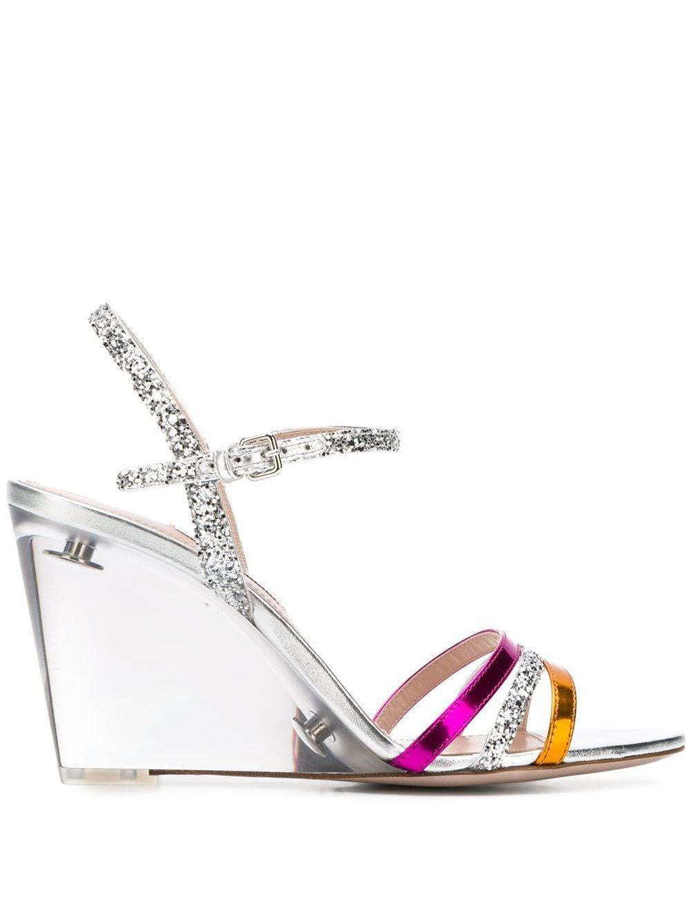 Miu Miu Wedge-Sandalen mit Glitter - Silber