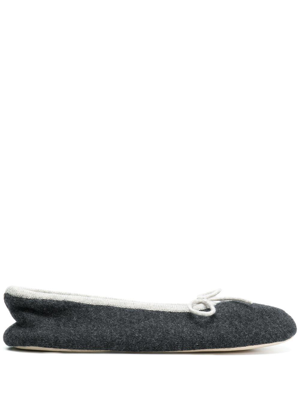 N.Peal Slipper mit Schleife - Grau