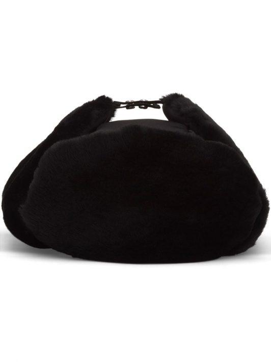 Prada Shearling-Mütze - Schwarz