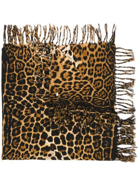 Saint Laurent Schal mit Leopardenmuster - Braun