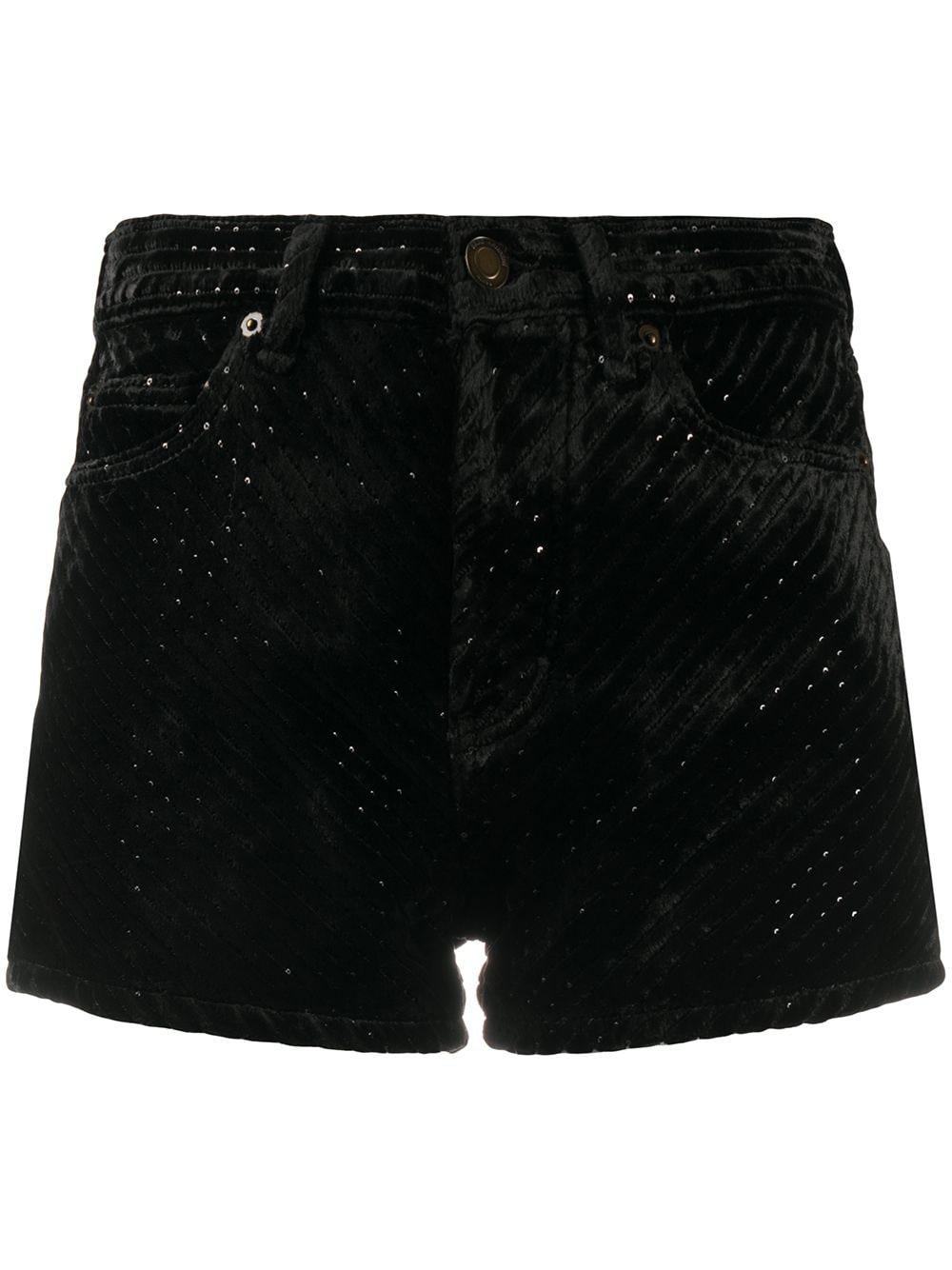 Saint Laurent Shorts aus Samt - Schwarz