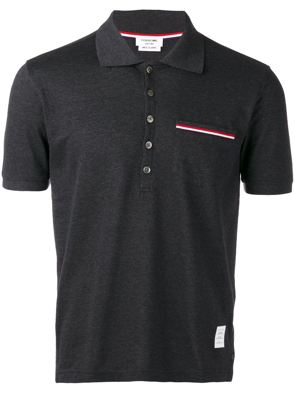 Thom Browne Poloshirt mit Brusttasche - Grau
