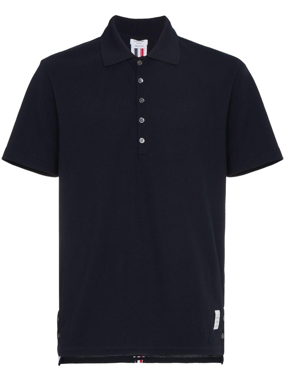 Thom Browne Poloshirt mit dreifarbigen Streifen - Blau