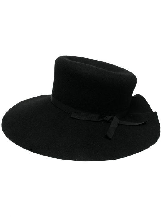 Yohji Yamamoto wool scalloped-brim hat - Schwarz