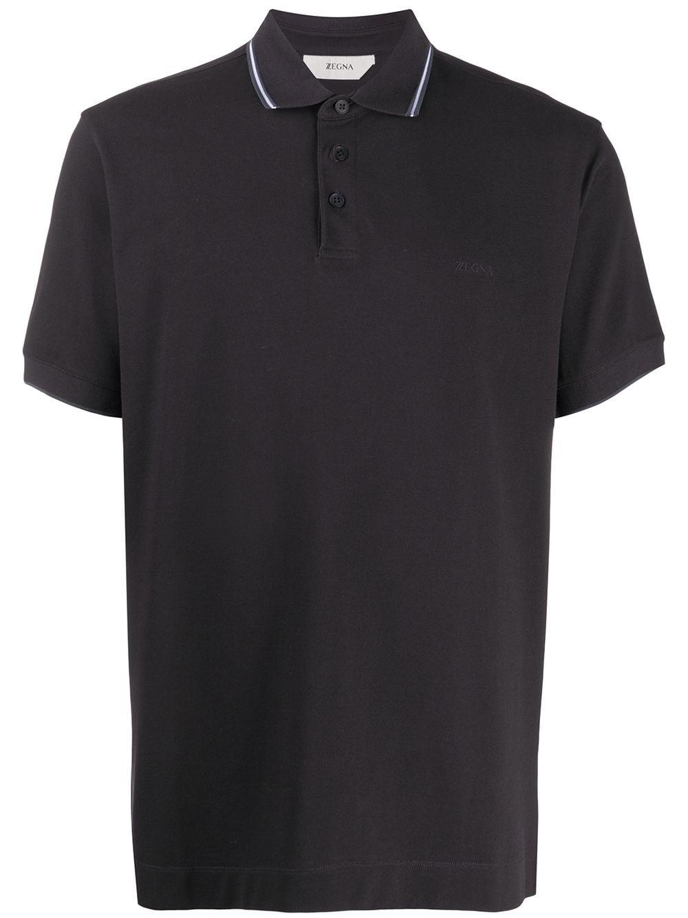 Z Zegna Poloshirt mit Streifendetail - Schwarz