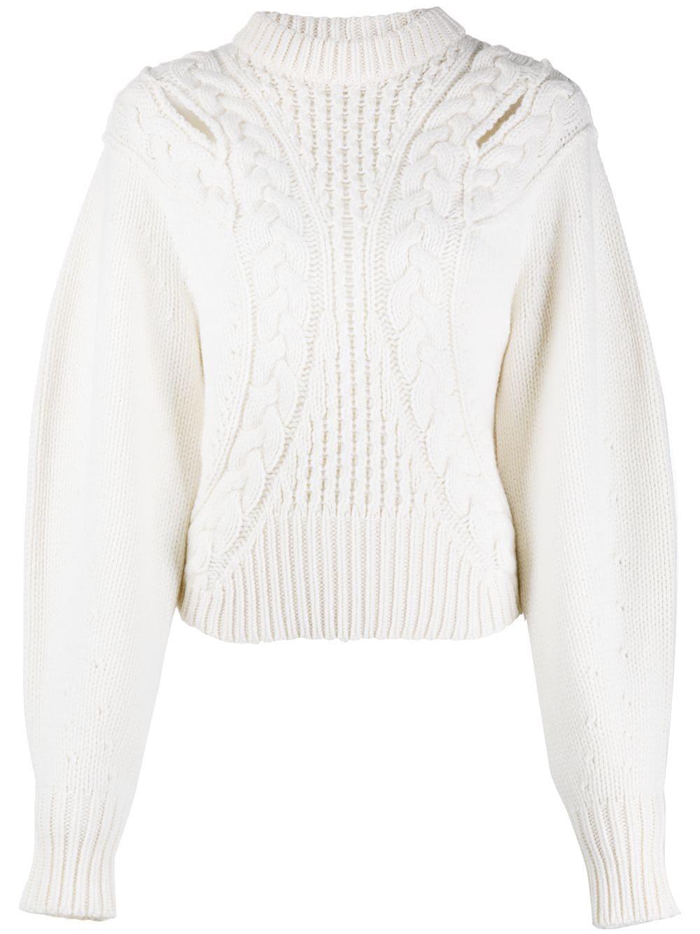 Alexander McQueen Pullover mit Zopfmuster - Weiß