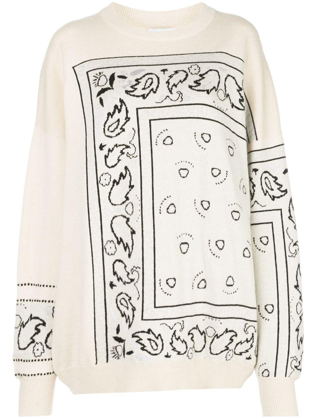 Barrie Gemusterter Oversized-Pullover - Weiß
