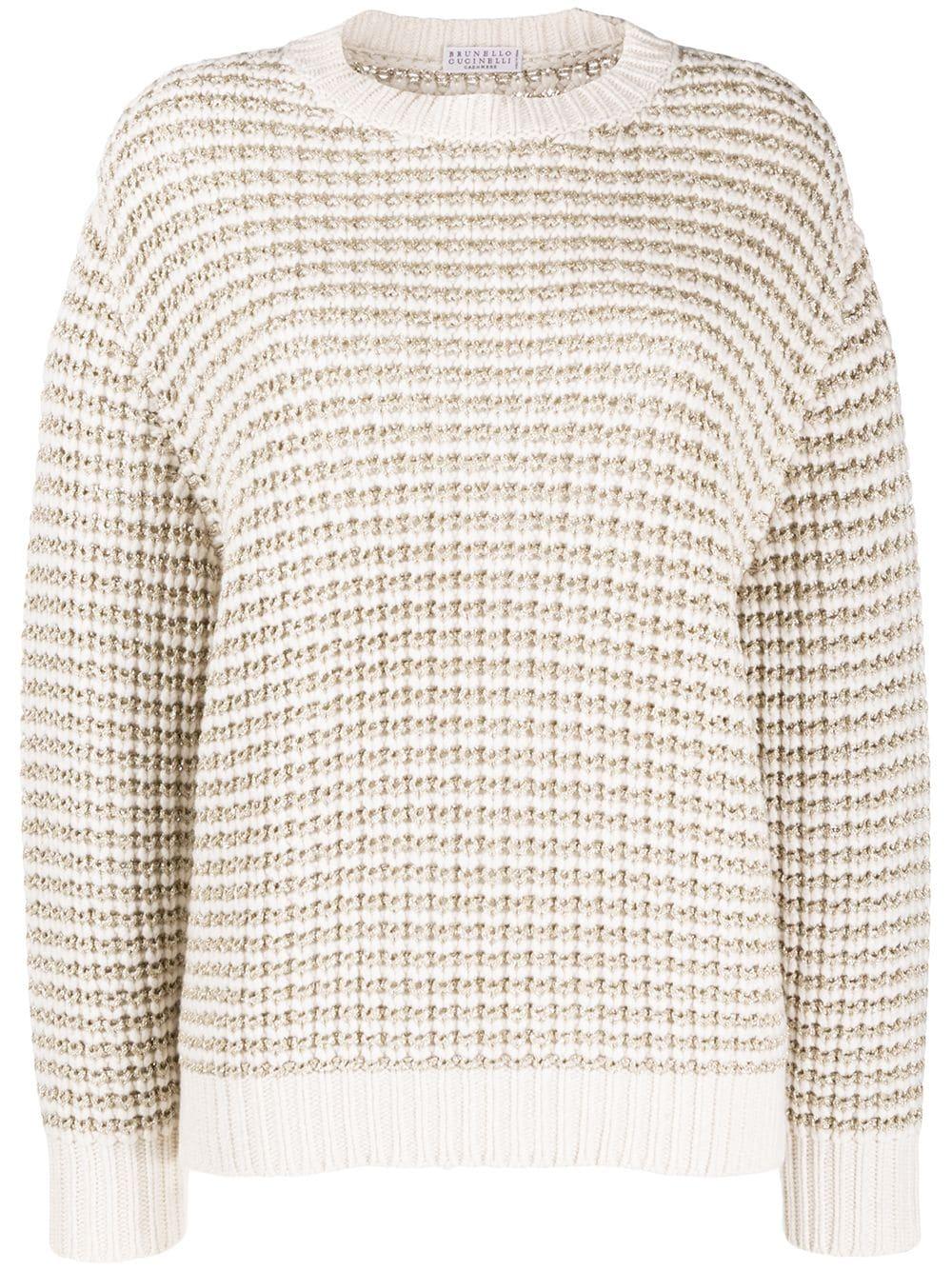 Brunello Cucinelli Texturierter Metallic-Pullover - Weiß