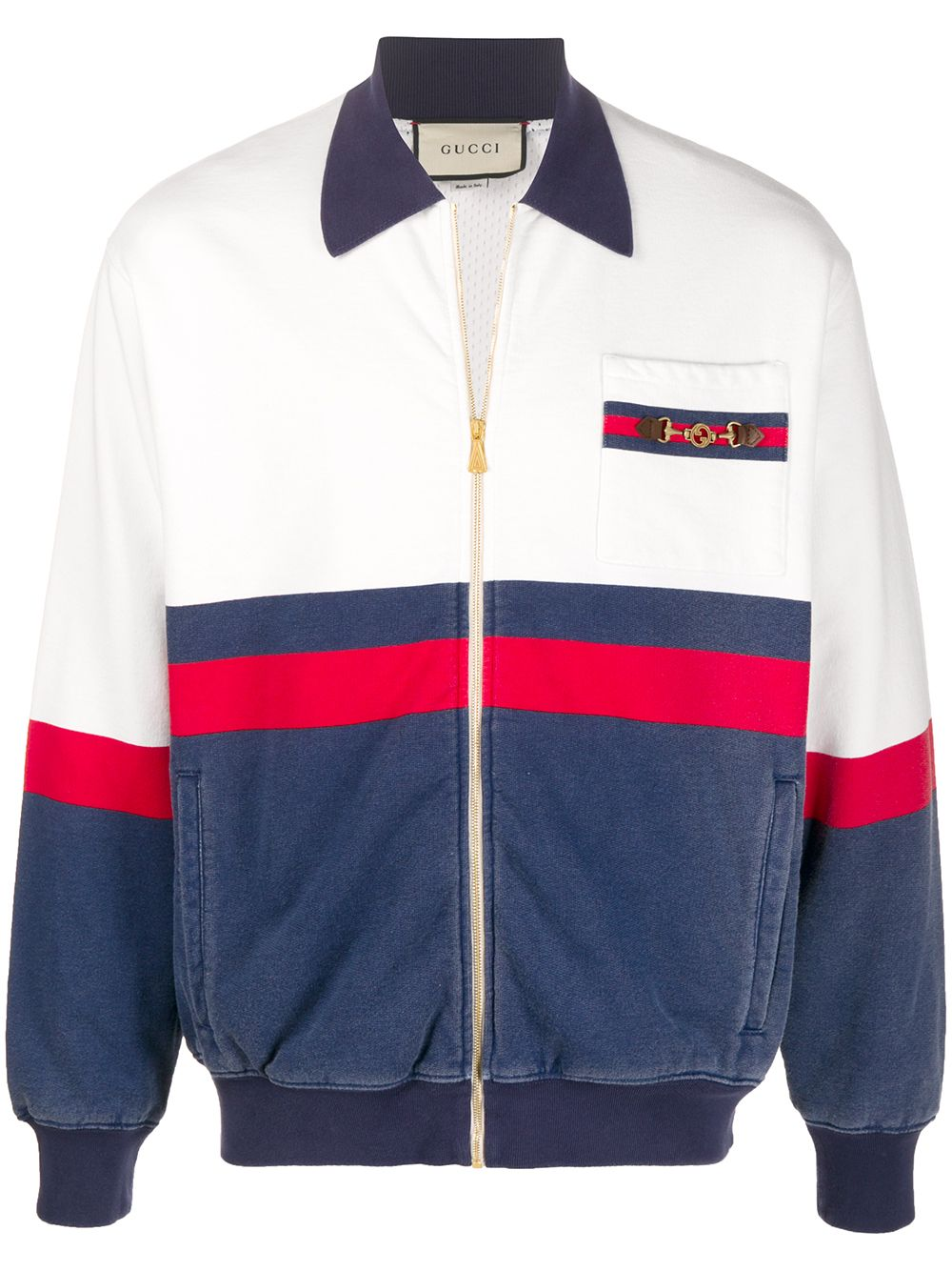 Gucci Sweatshirtjacke mit Horsebit-Detail - Weiß