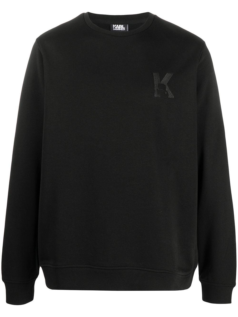 Karl Lagerfeld K embroidery rib-trimmed sweatshirt - Blau