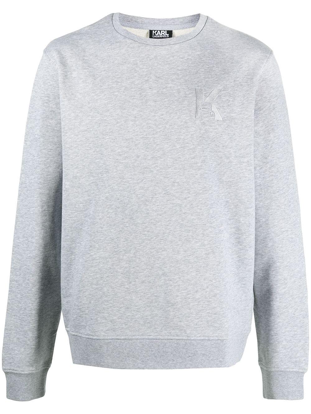Karl Lagerfeld K embroidery rib-trimmed sweatshirt - Grau