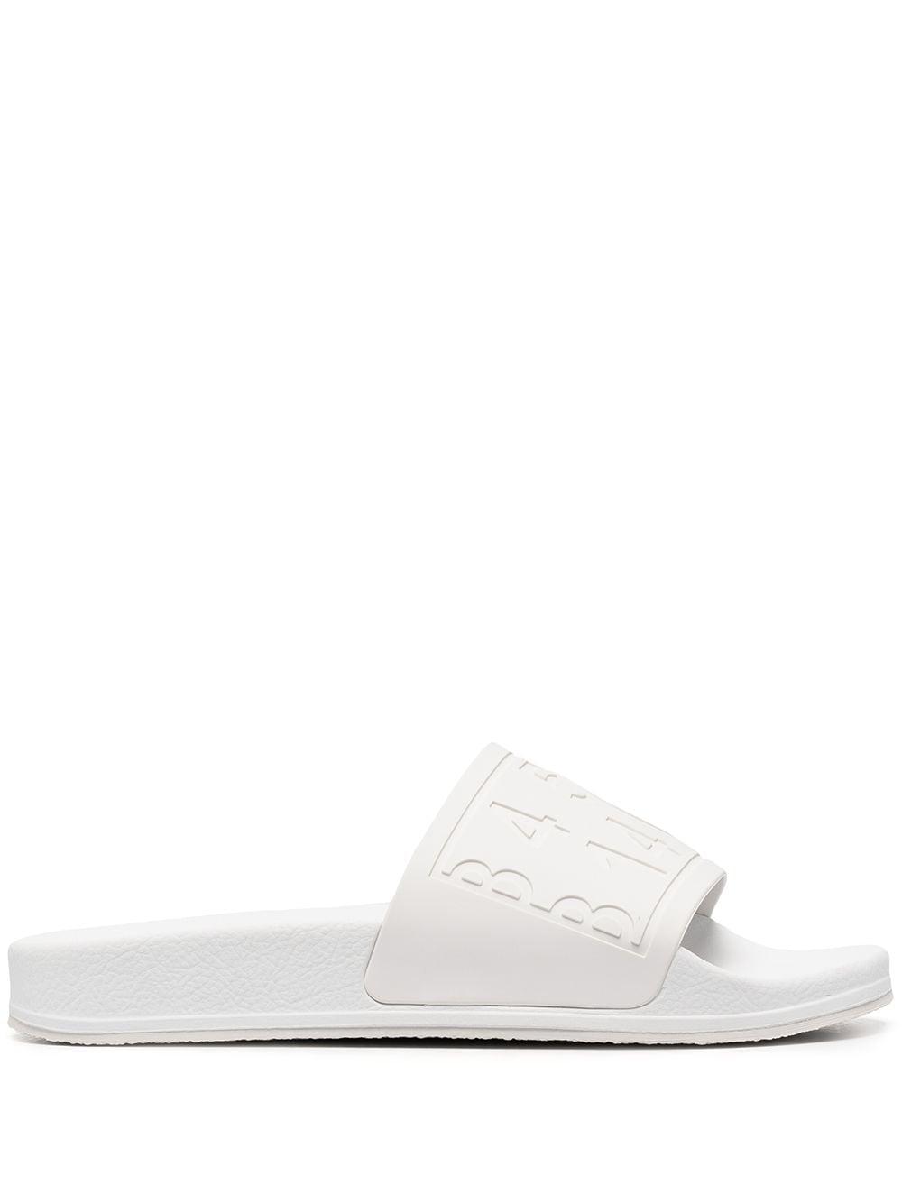 MM6 Maison Margiela logo embossed slide slippers - Weiß