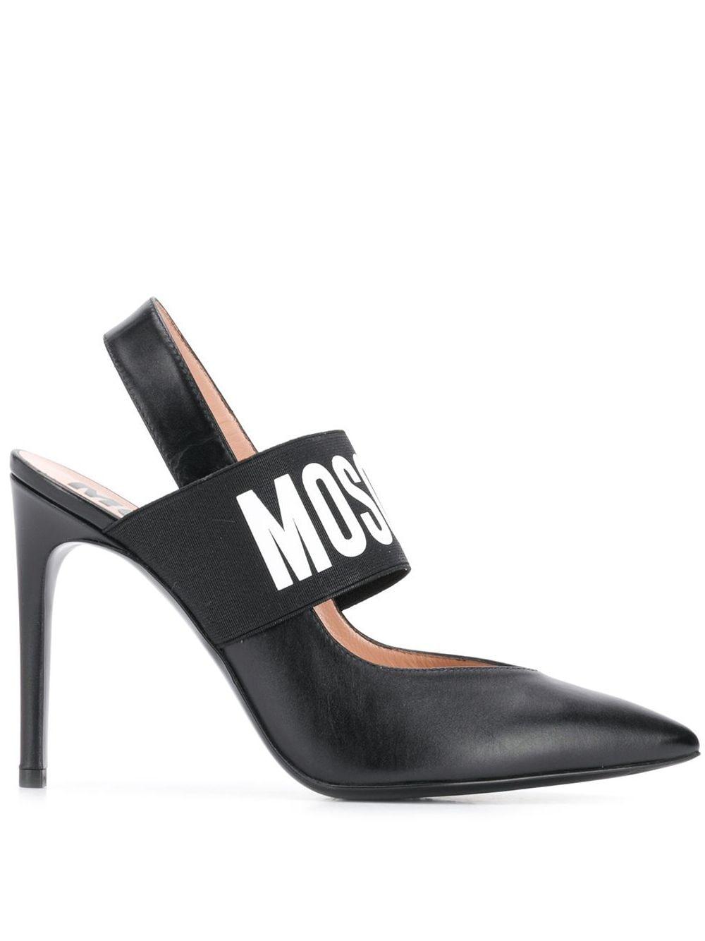 Moschino Slingback-Pumps mit Logo - Schwarz