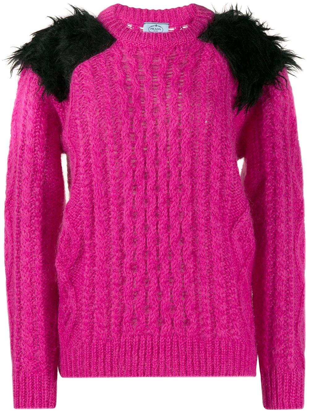 Prada Grob gestrickter Pullover - Rosa