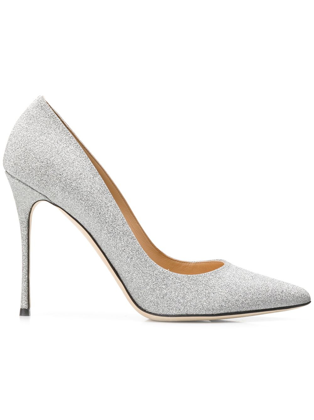 Sergio Rossi Pumps im Metallic-Look - Silber