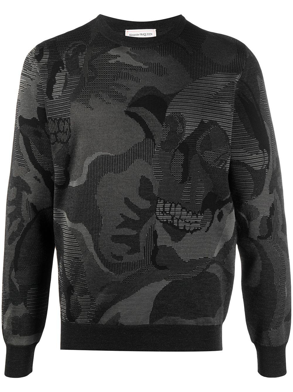 Alexander McQueen abstract-print long-sleeve sweatshirt - Schwarz
