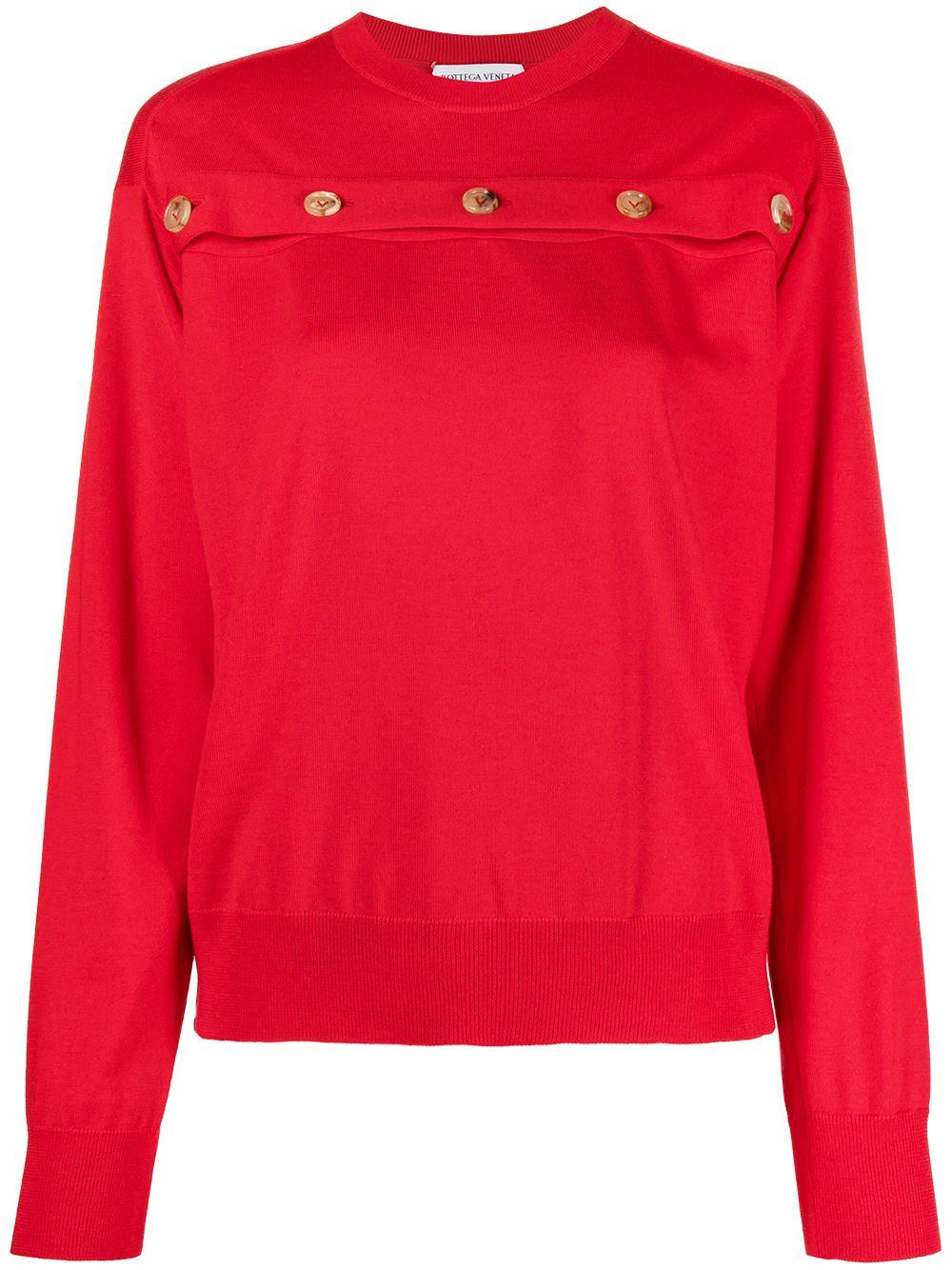 Bottega Veneta buttoned wool pullover - Rot