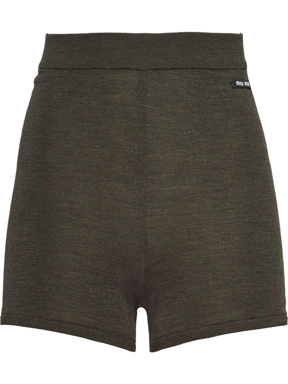 Miu Miu Gestrickte Shorts - Grün
