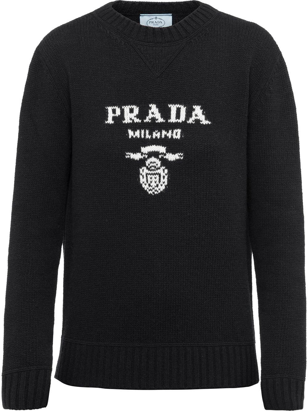 Prada intarsia-knit logo jumper - Schwarz