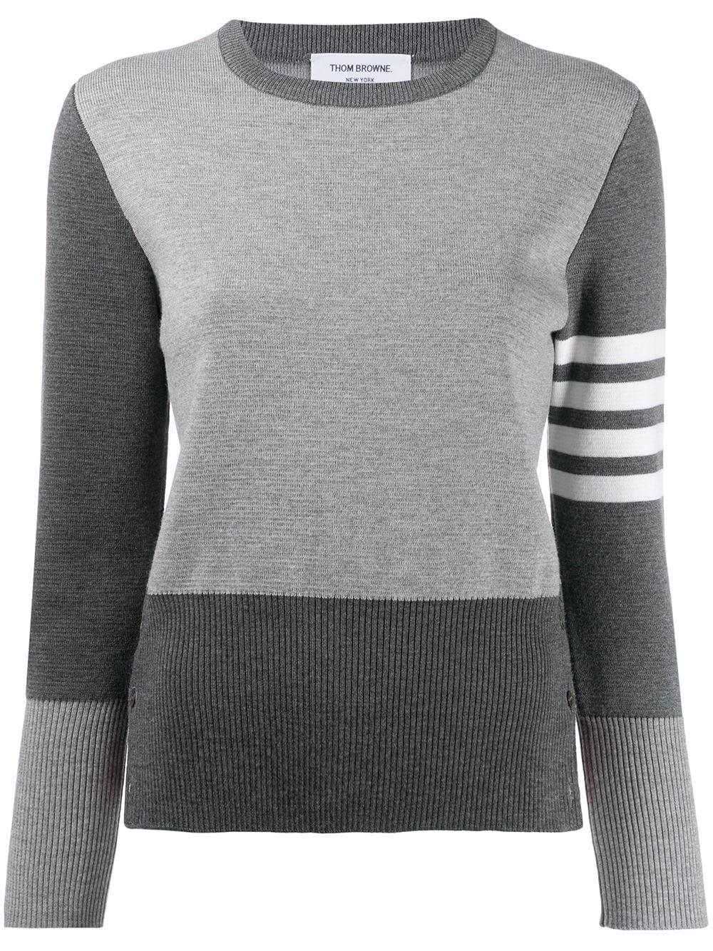 Thom Browne Pullover mit Logo-Streifen - Grau