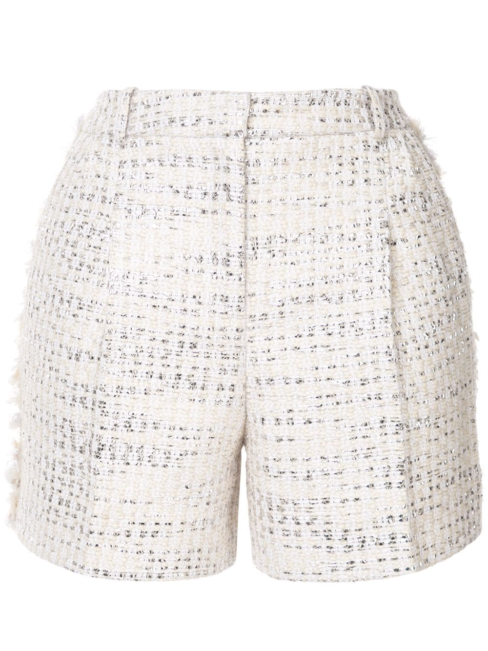 Zuhair Murad Tweed-Shorts in Metallic-Optik - Weiß