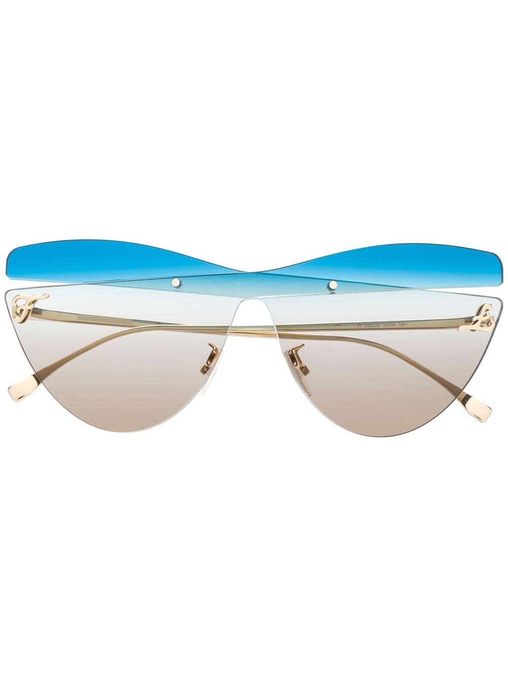 Fendi Eyewear Oversized-Sonnenbrille - Blau