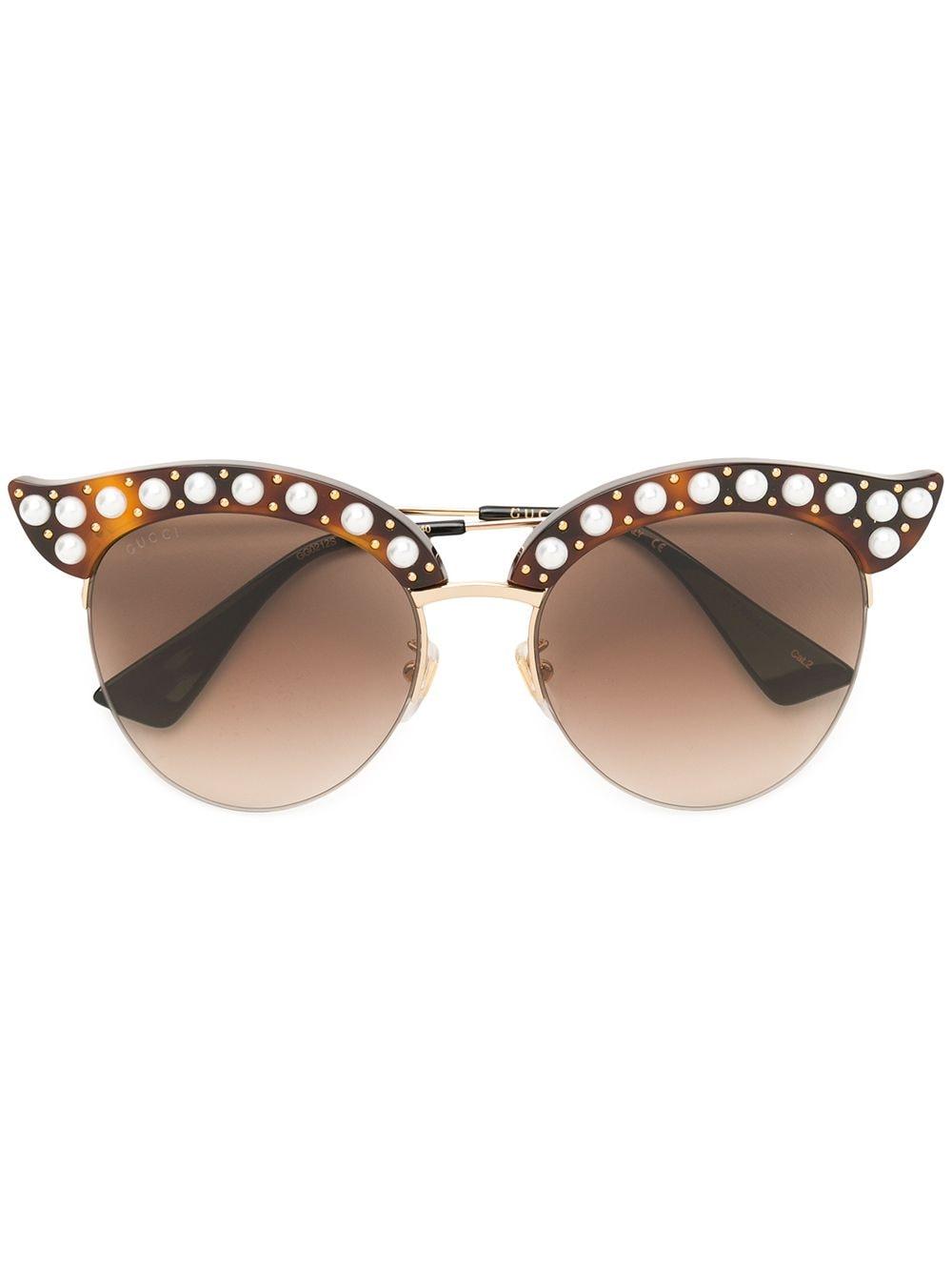 Gucci Eyewear Sonnenbrille mit Perlen - Braun