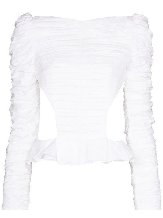 Khaite 'Rosy' Bluse mit Schößchen - Weiß