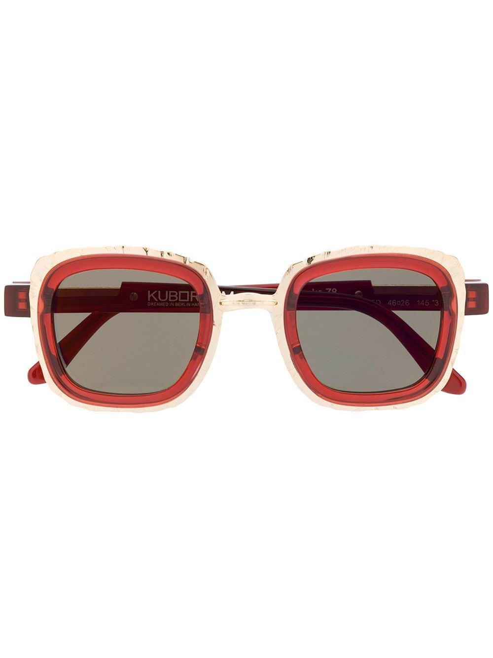 Kuboraum Sonnenbrille mit eckigem Gestell - Rot