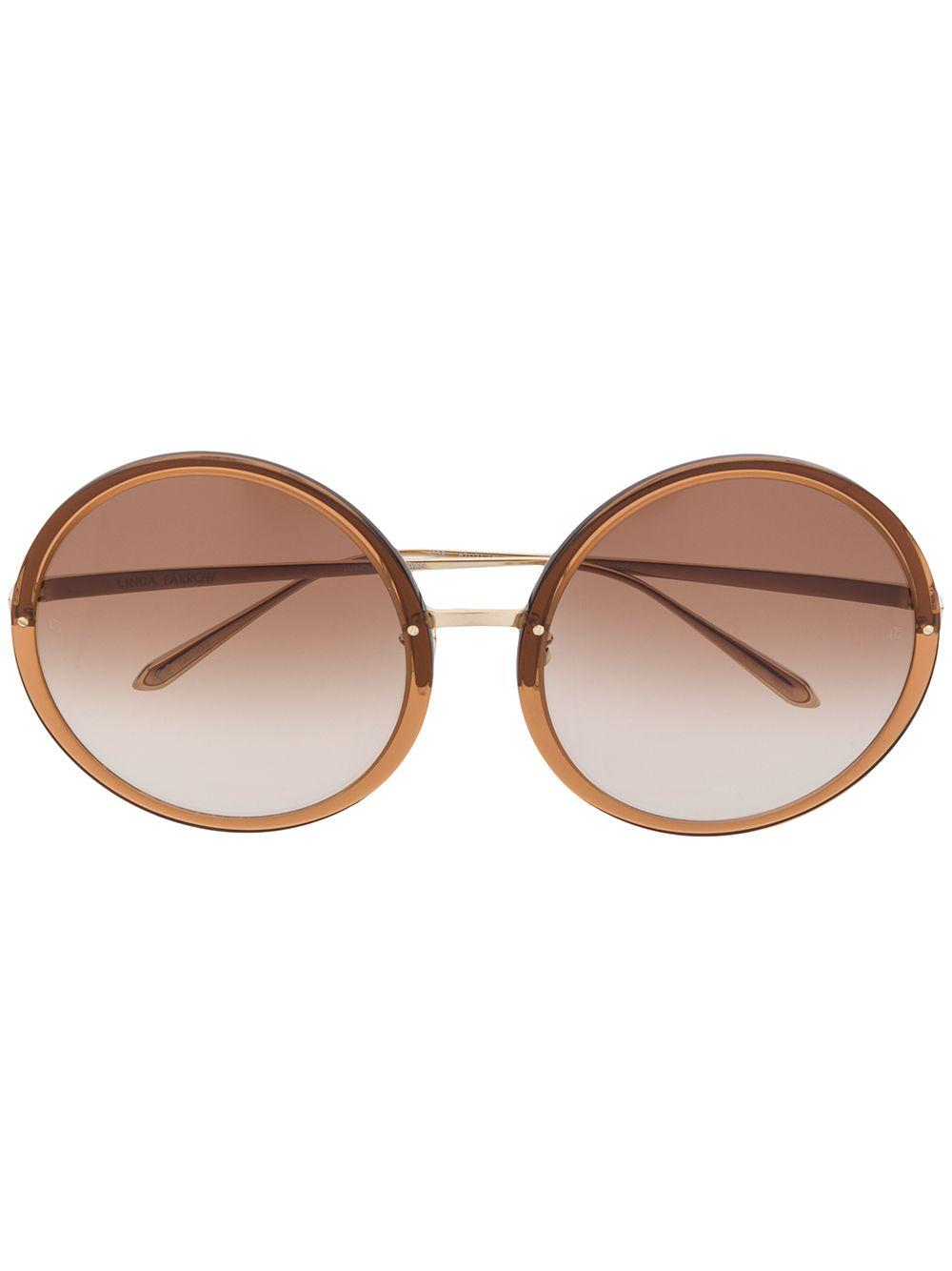 Linda Farrow 'Kew' Sonnenbrille mit rundem Gestell - Gold